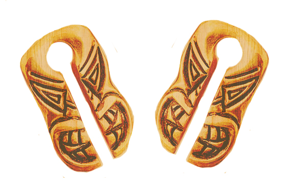 Tiki Mask Crocodile Wood Light Ear Weights